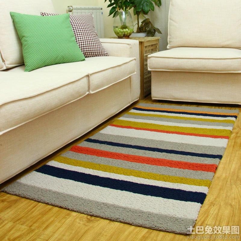 简约客厅手工编织地垫图片欣赏