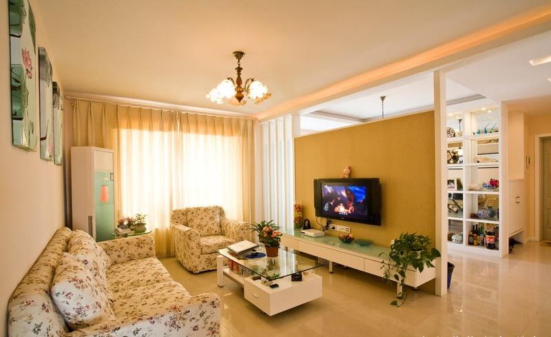 田园风格70平米小户型客厅电视墙隔断设计