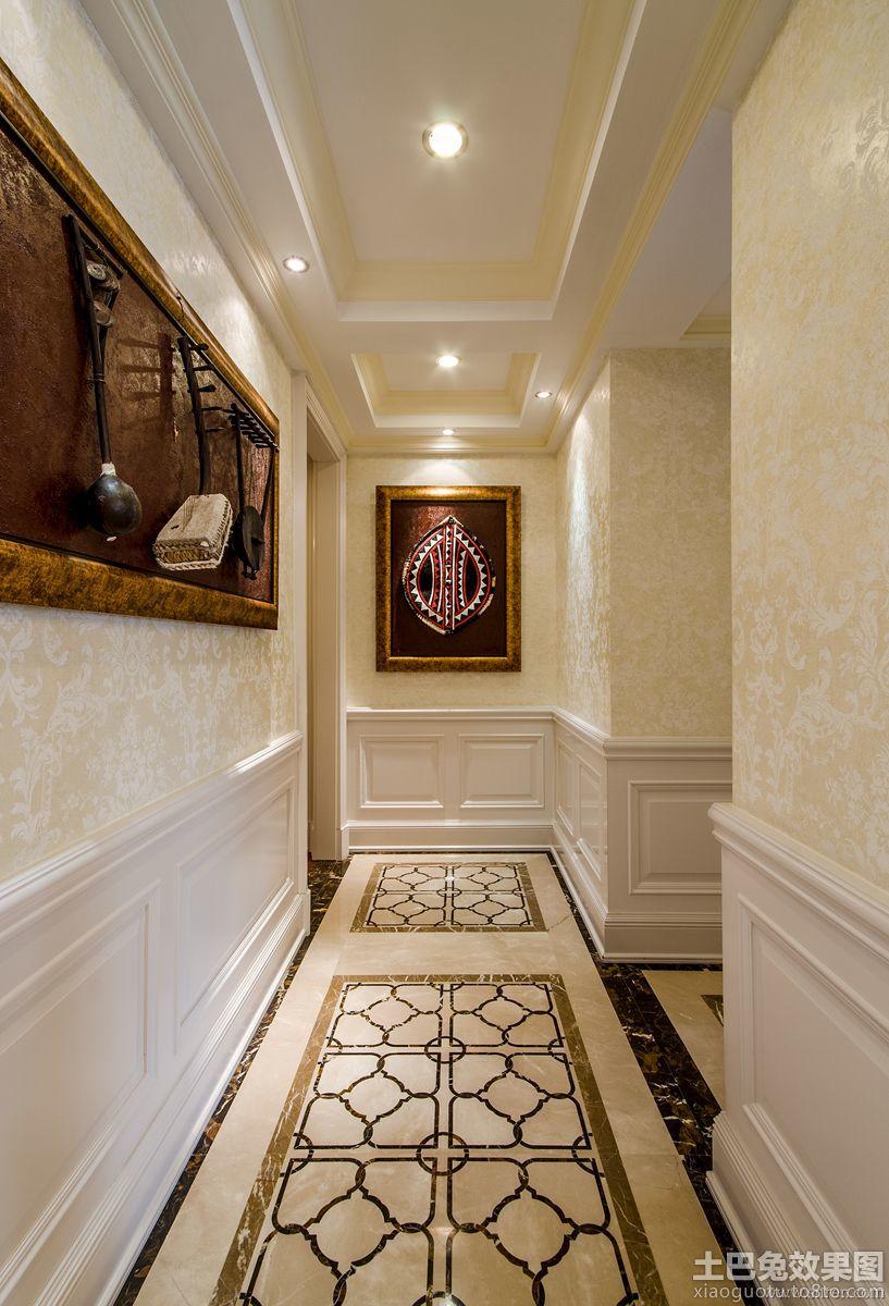 欧式风格过道瓷砖地板拼花贴图图片