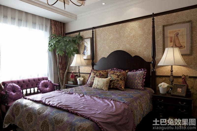 欧式风格卧室床头壁纸效果图图片