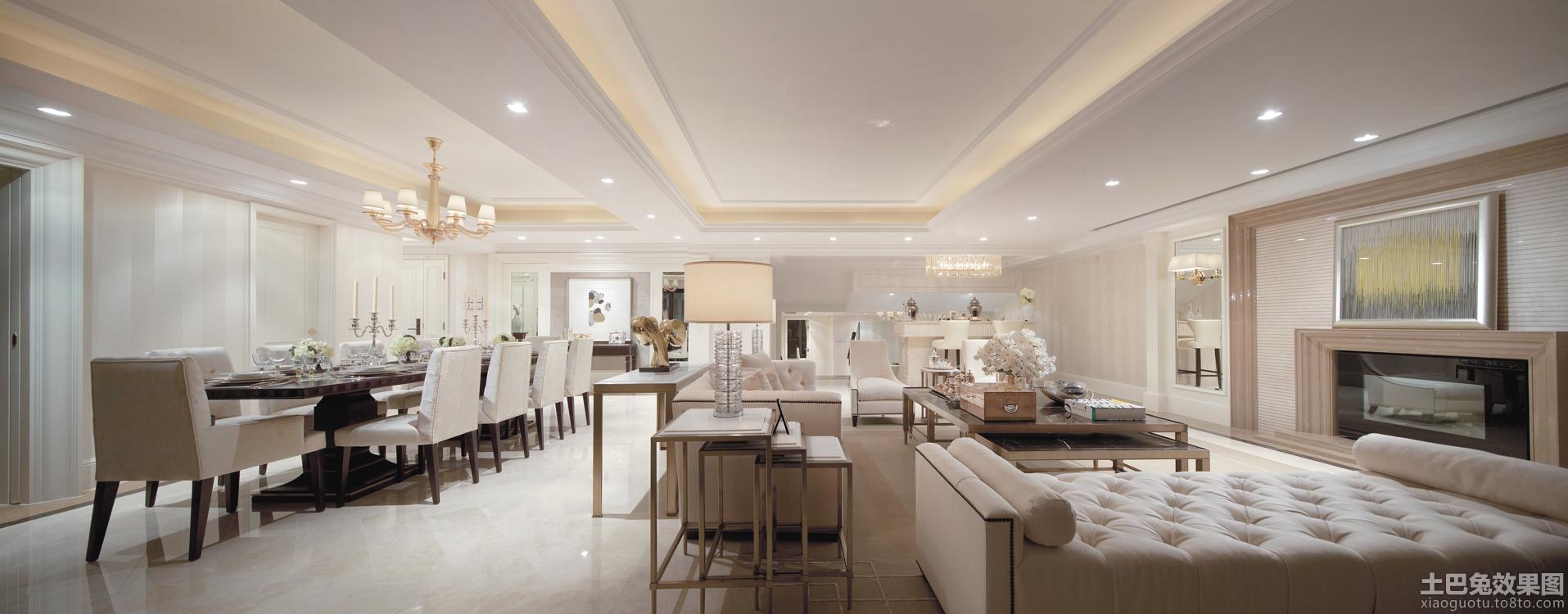 简欧风格大型客厅餐厅一体装修效果图图片