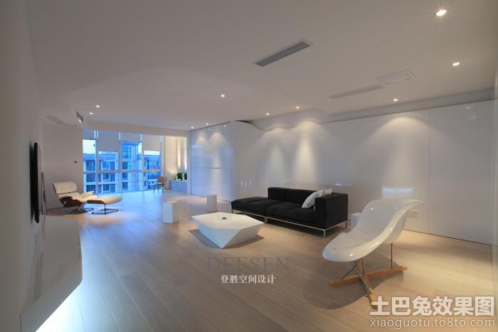 现代简约装修风格客厅实木地板效果图