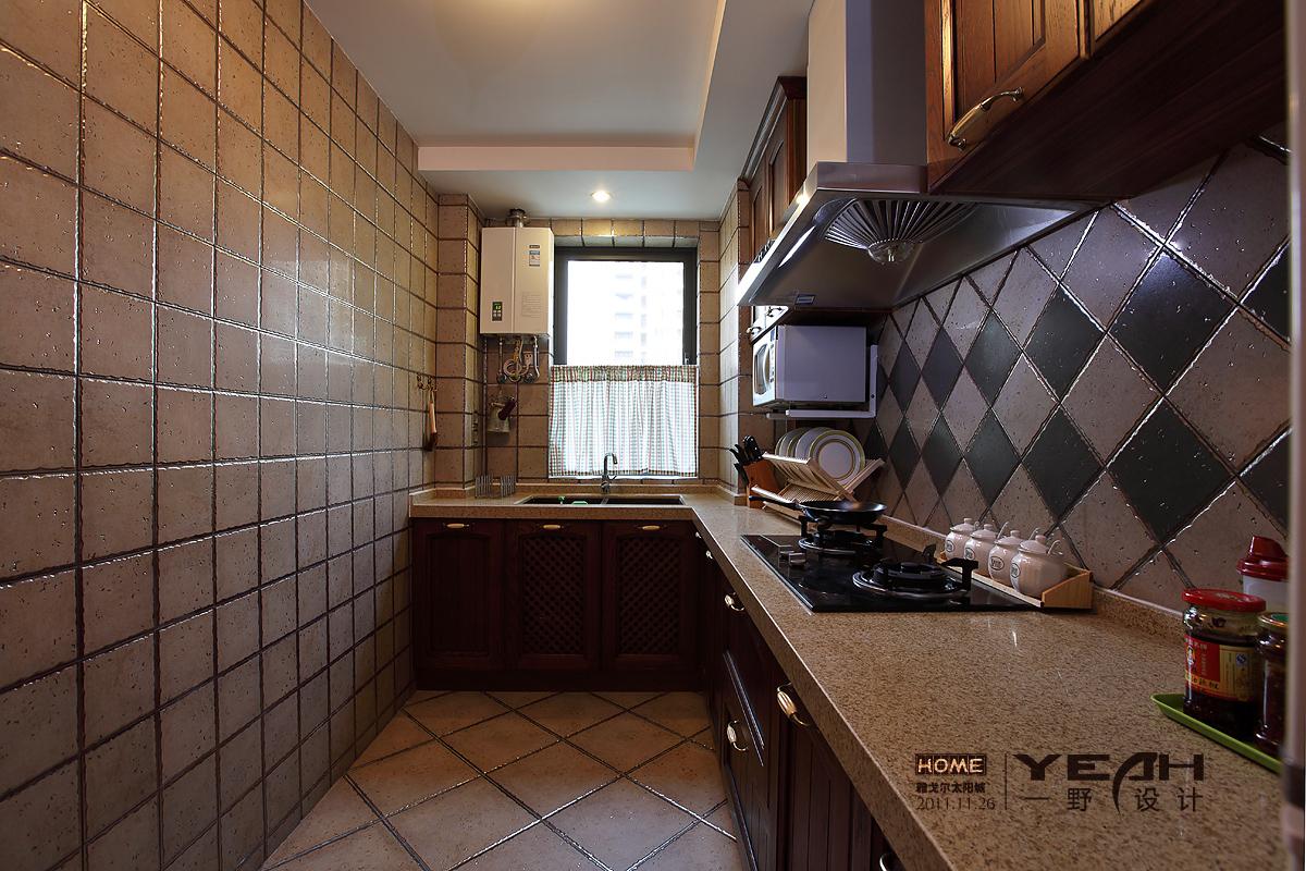 美式厨房瓷砖装修效果图图片