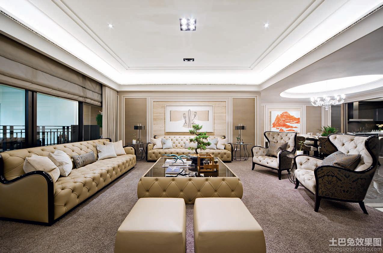 欧式风格大客厅不吊顶装修效果图