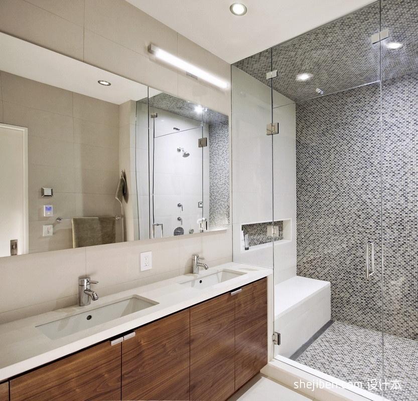 干湿分离卫生间隔断马赛克瓷砖墙面装修效果图