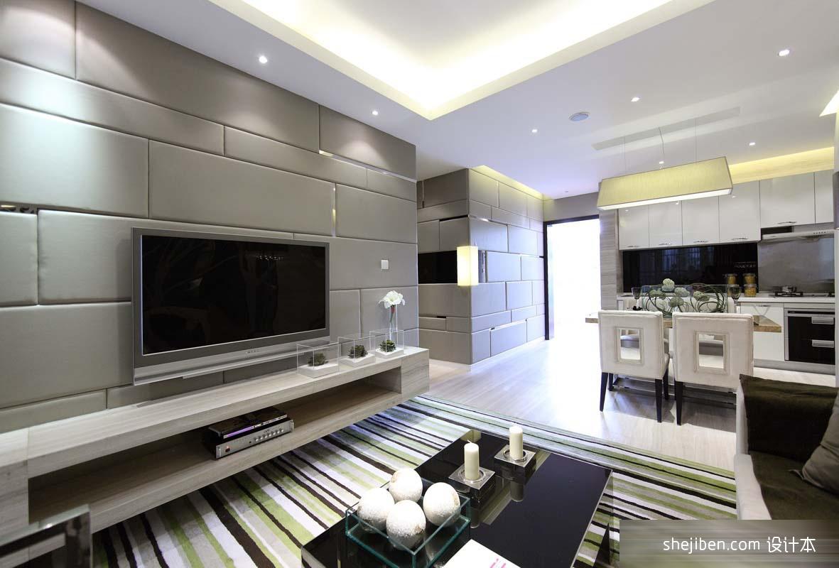 后现代风格客厅软包电视机背景墙设计图片