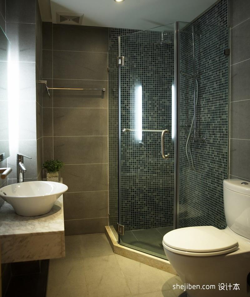 干湿分离卫生间淋浴房马赛克瓷砖装修效果图