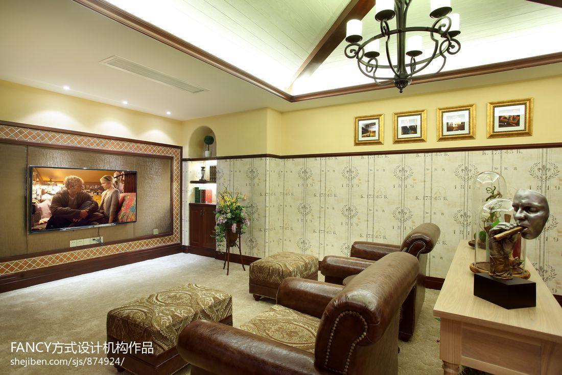 美式别墅家庭影音室装修效果图图片