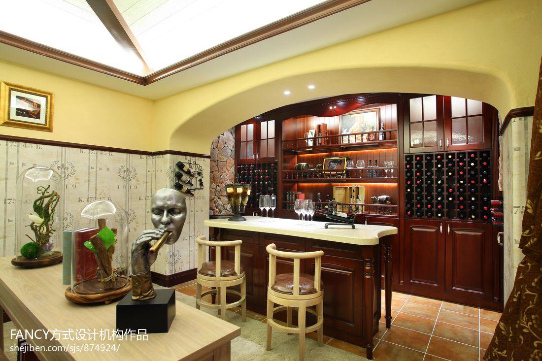 美式别墅家庭酒柜设计效果图图片