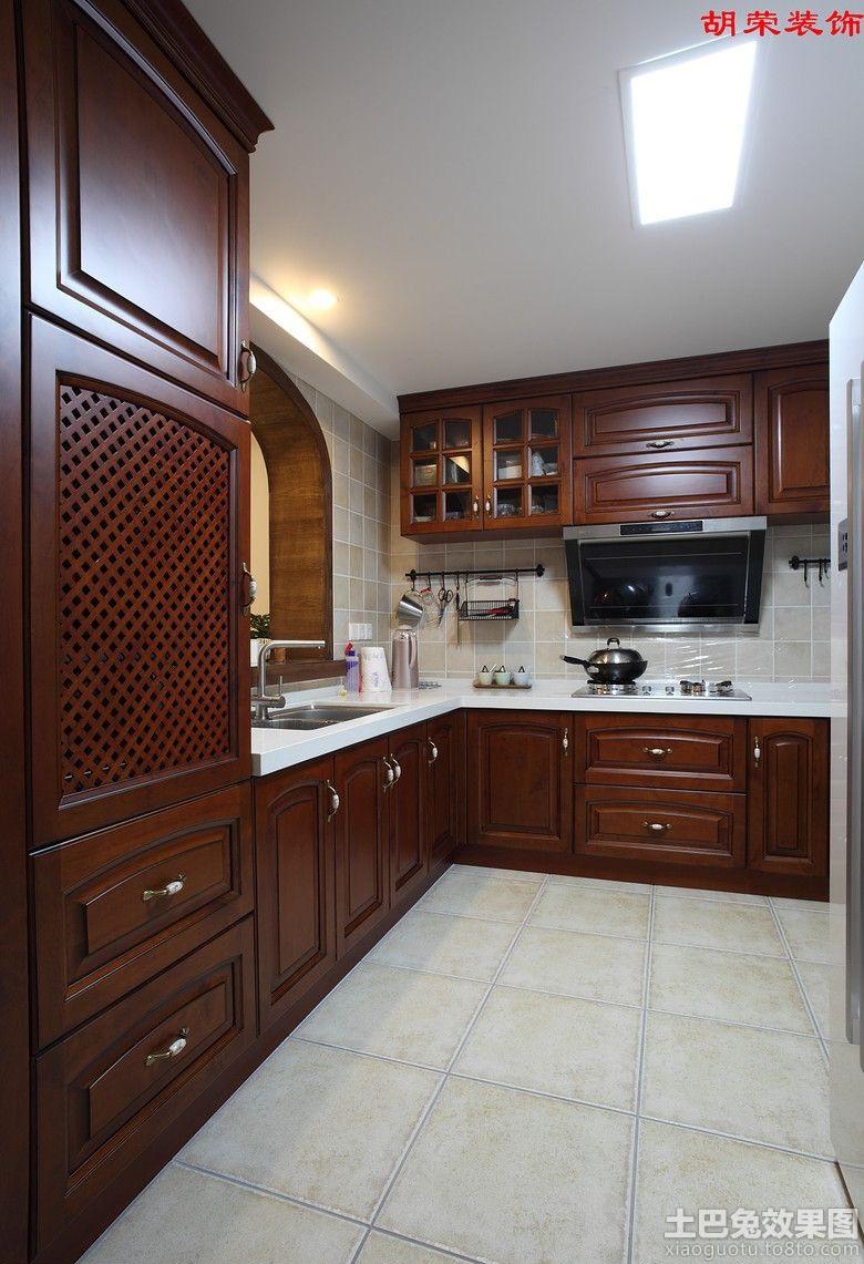 美式厨房实木橱柜效果图片大全