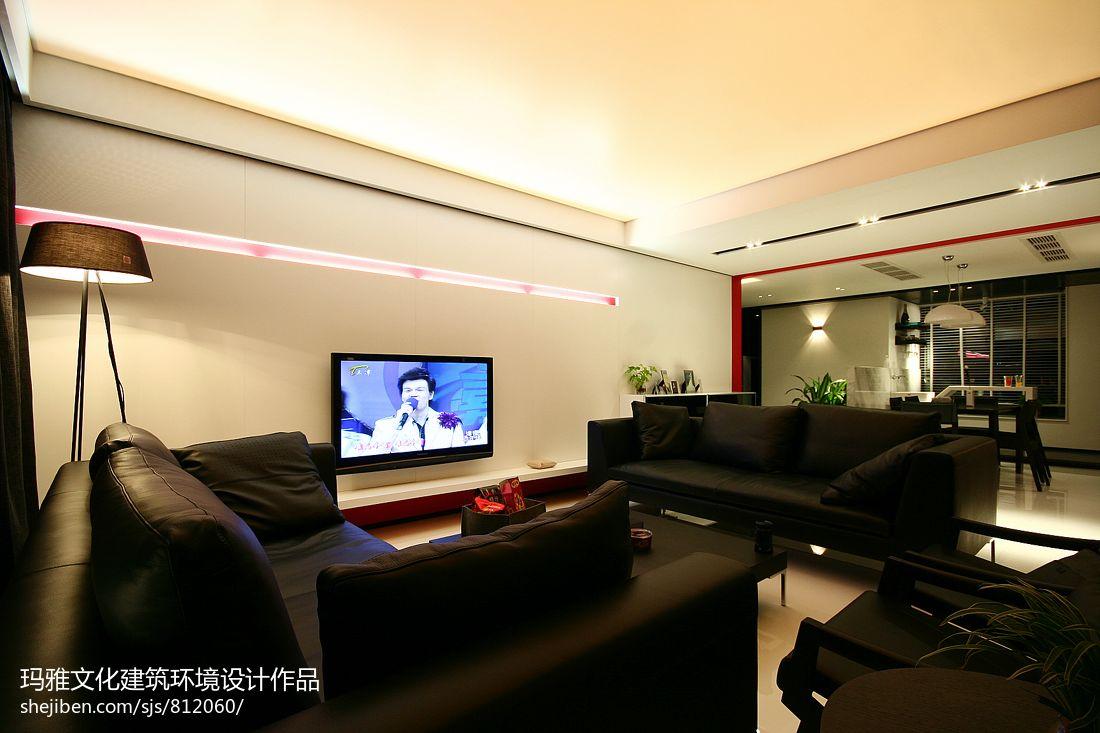 大户型家装客厅灯池真皮沙发摆放效果图