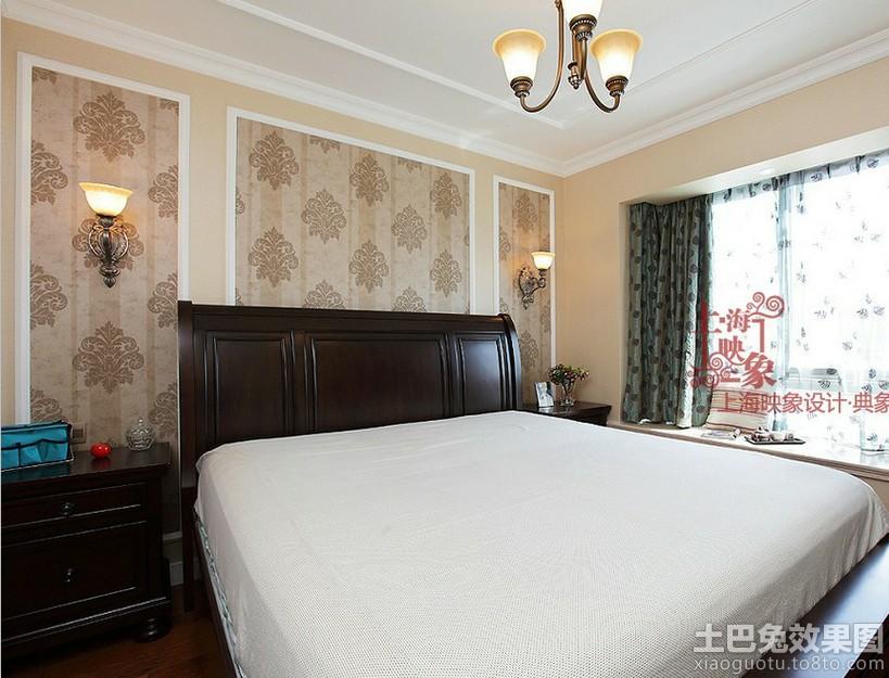 现代美式风格卧室床头背景墙效果图图片