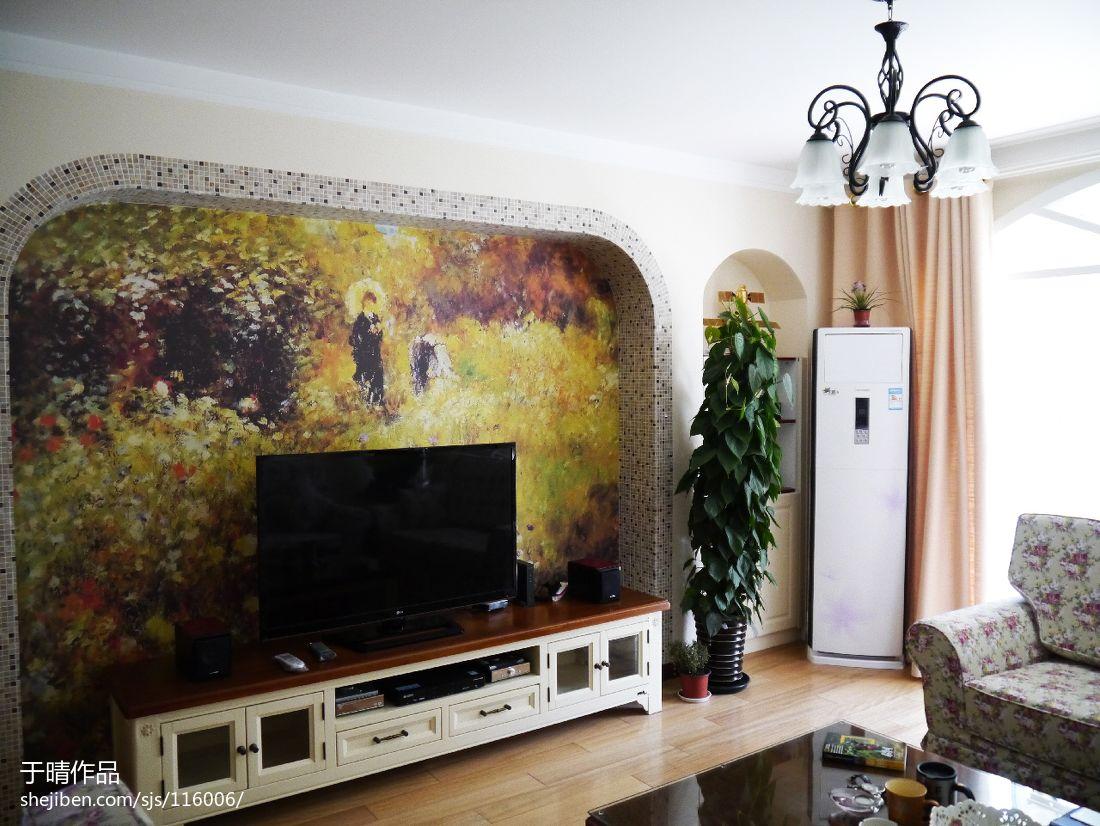 田园风格彩绘电视背景墙装修效果图图片