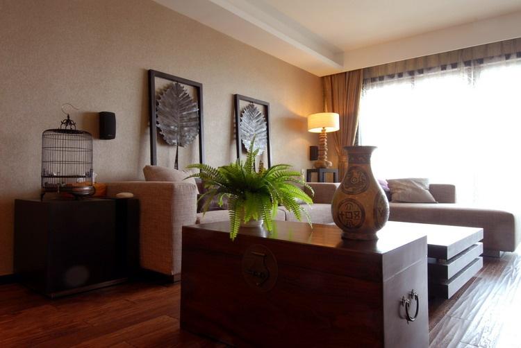 现代中式风格客厅沙发储物柜效果图图片