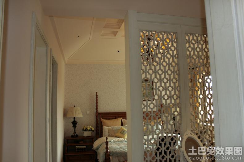卧室镂空雕花屏风隔断效果图 土巴兔装修效果高清图片