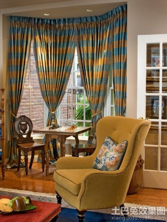 美式风格阳光房窗帘效果图图片