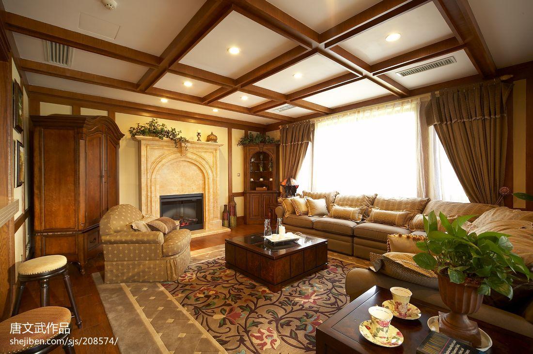 美式别墅客厅装修效果图大全图片