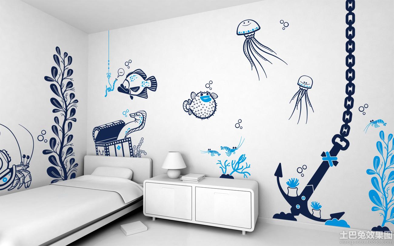 简约家装创意手绘涂鸦墙效果图片