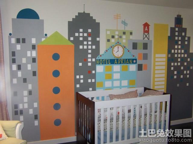 婴儿房创意手绘壁画图片