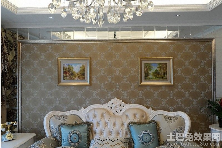 欧式客厅沙发深色墙纸贴图