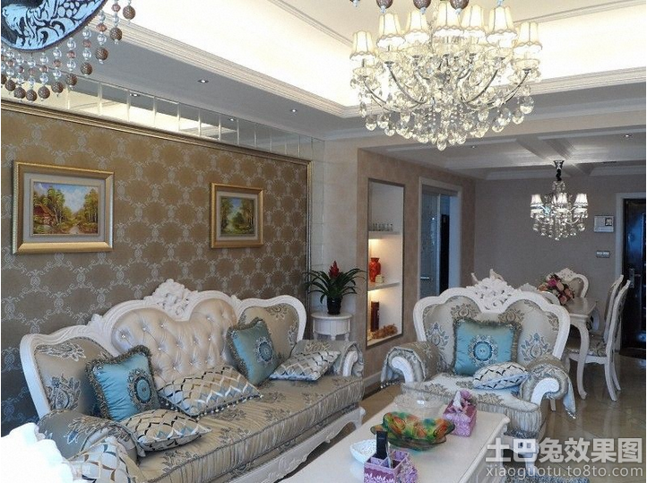 欧式沙发花纹背景墙纸贴图