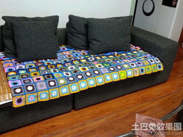 现代客厅沙发毛线编织坐垫图片