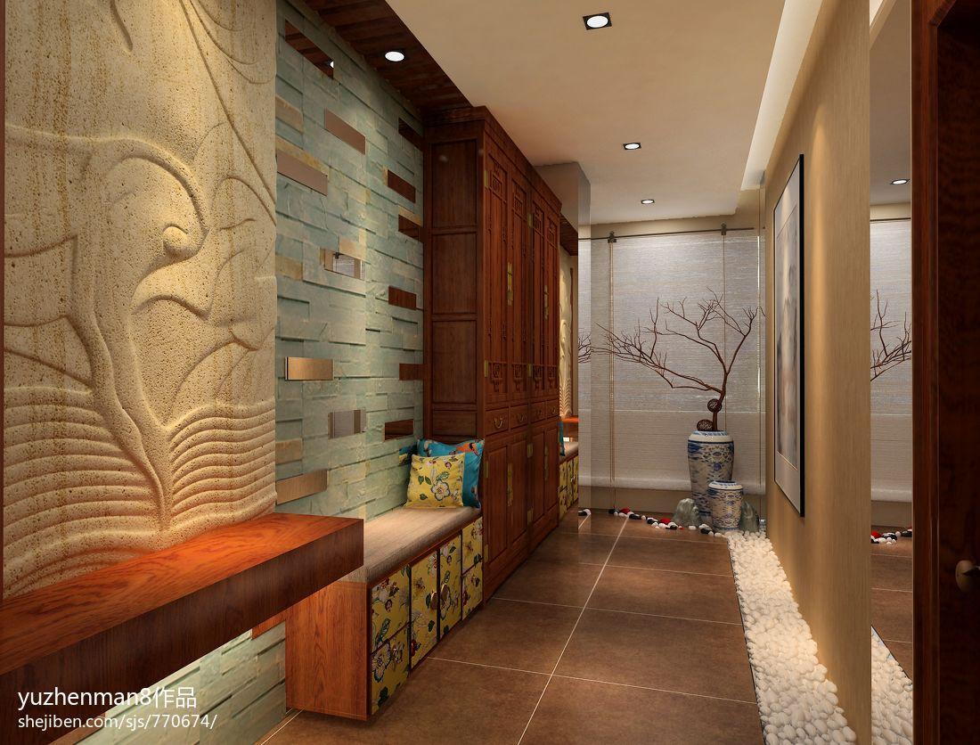 新中式风格设计过道地板砖效果图图片