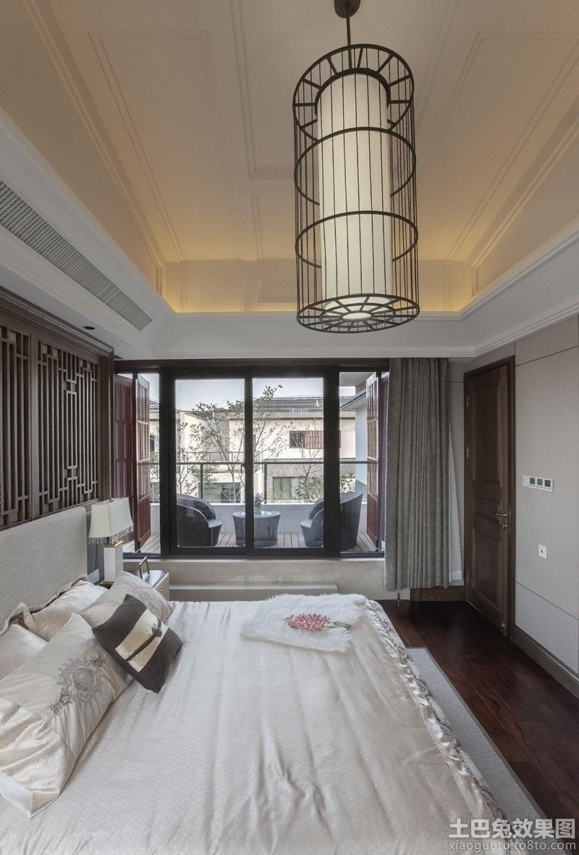 新中式别墅卧室吊顶装修效果图