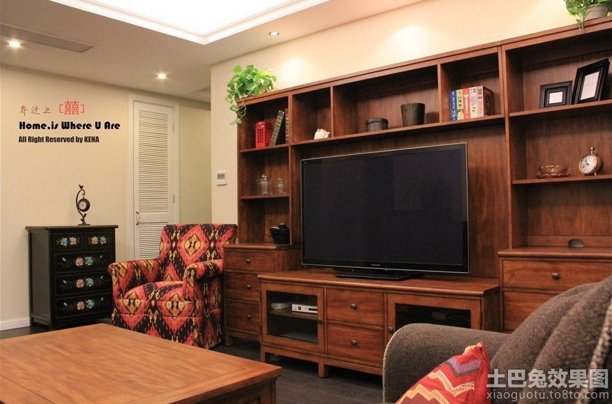 实木电视柜背景墙装修效果图