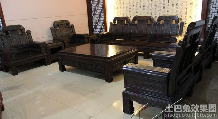 客厅黑色实木沙发图片