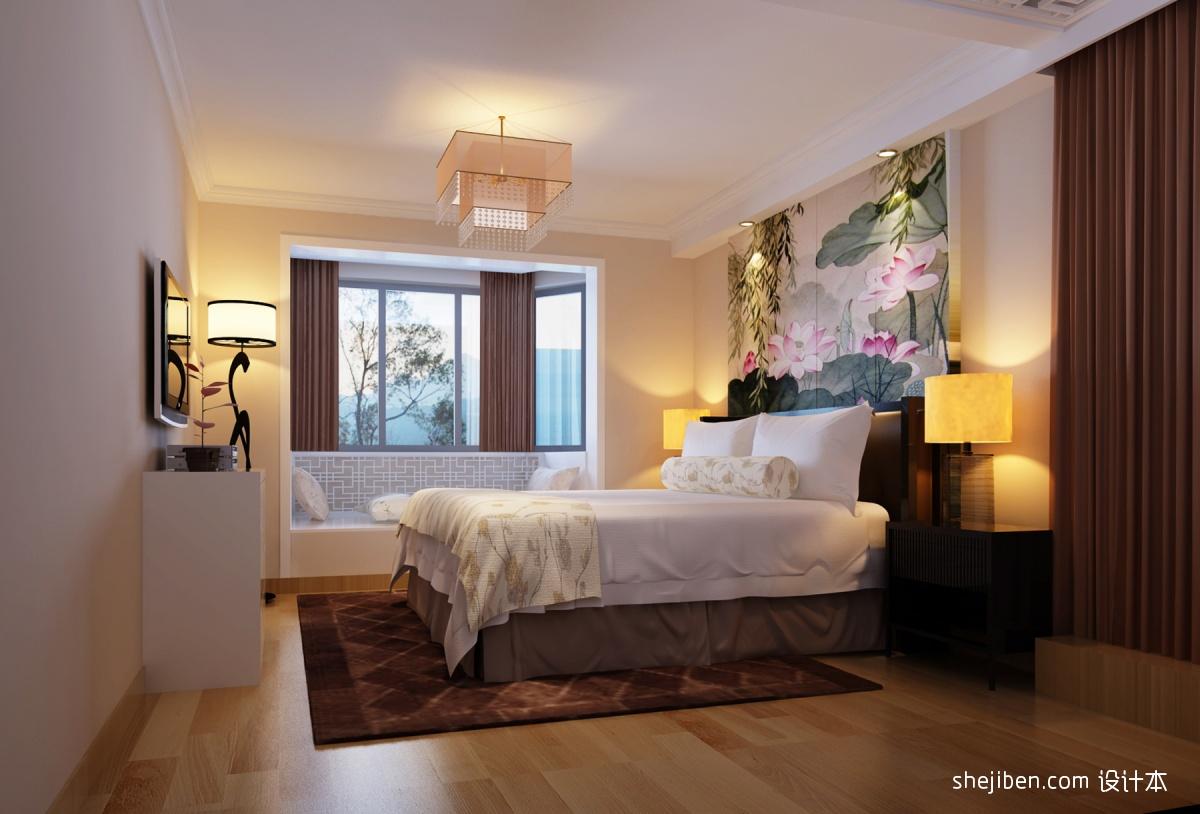 新中式卧室床头背景墙设计效果图图片