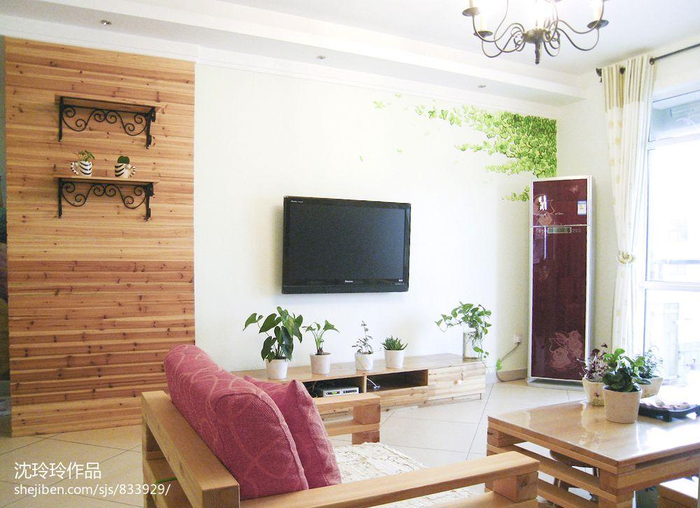 小户型客厅电视背景墙家装效果图 - 装修效果图 - 九