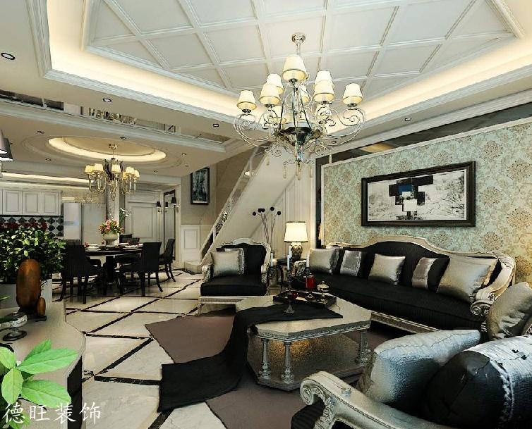 复式楼欧式客厅吊顶效果图 - 装修效果图 - 九正家居网