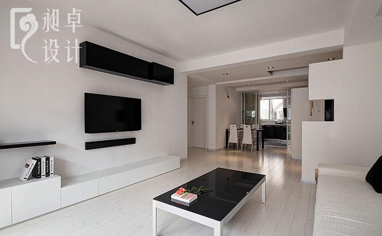 二居室家装木地板客厅电视背景墙效果图