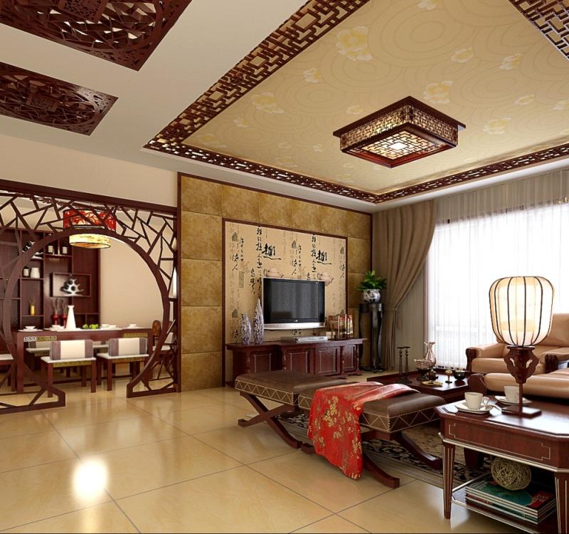 中式客厅地板砖装修效果图