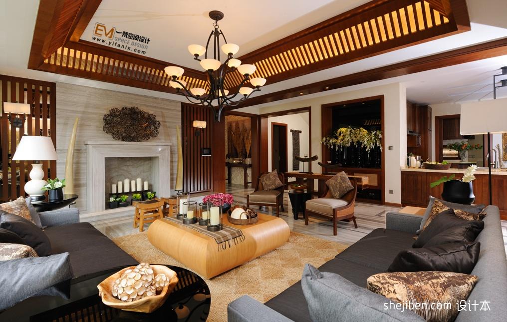中式客厅吊顶装修效果图图片