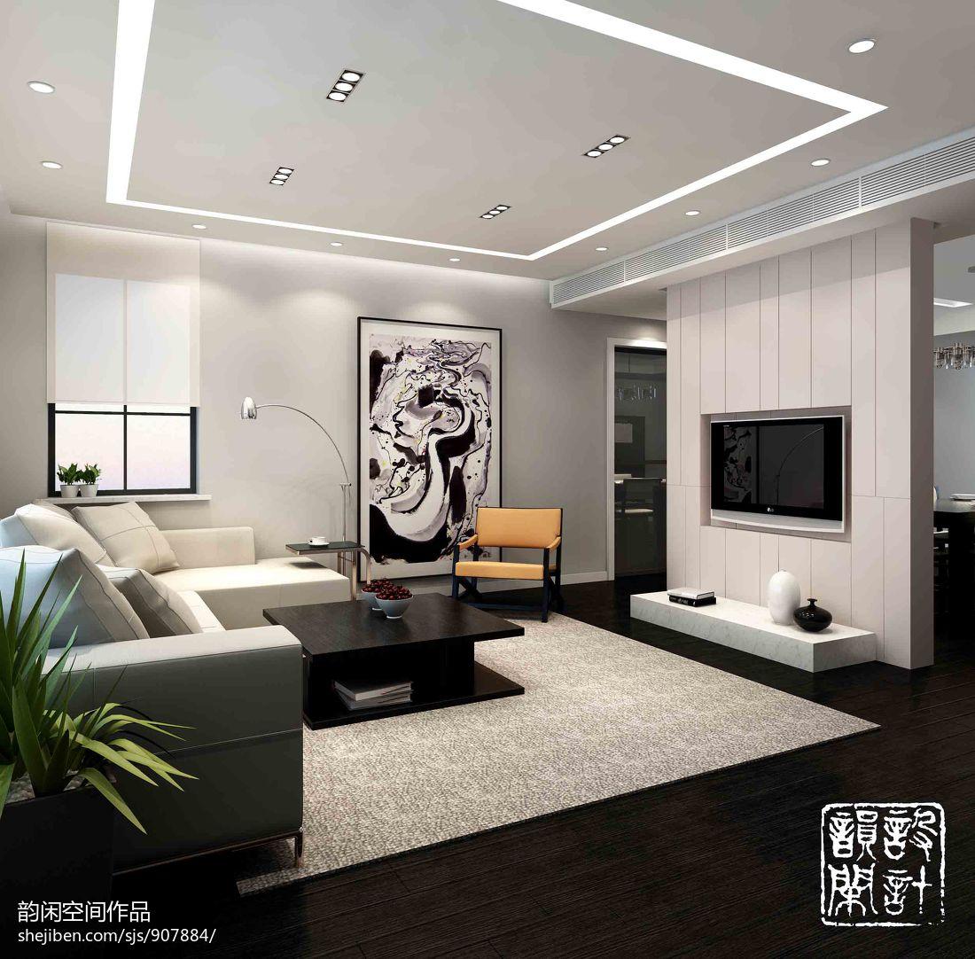 2013现代风格客厅嵌入式电视背景墙效果图图片
