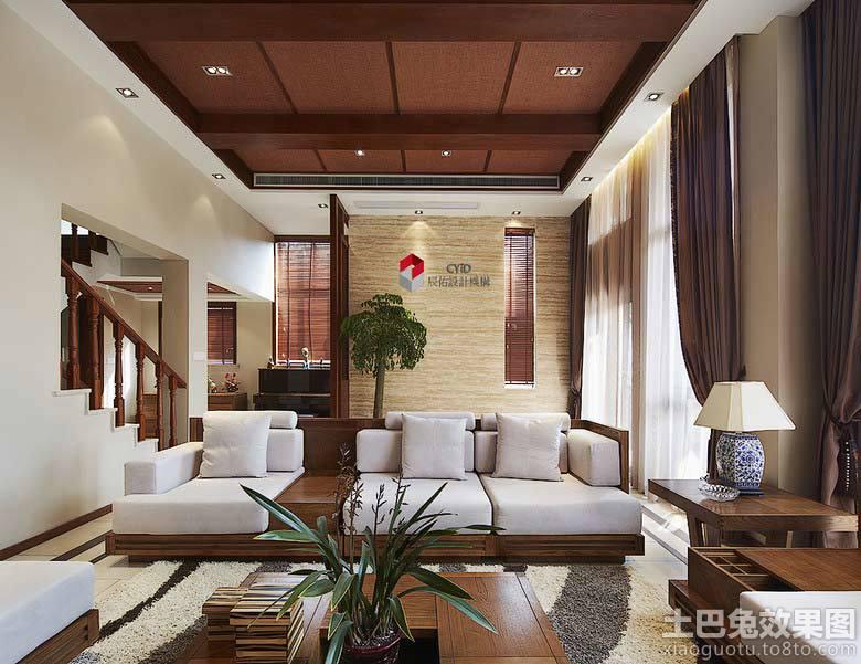 别墅客厅木质吊顶装修效果图片