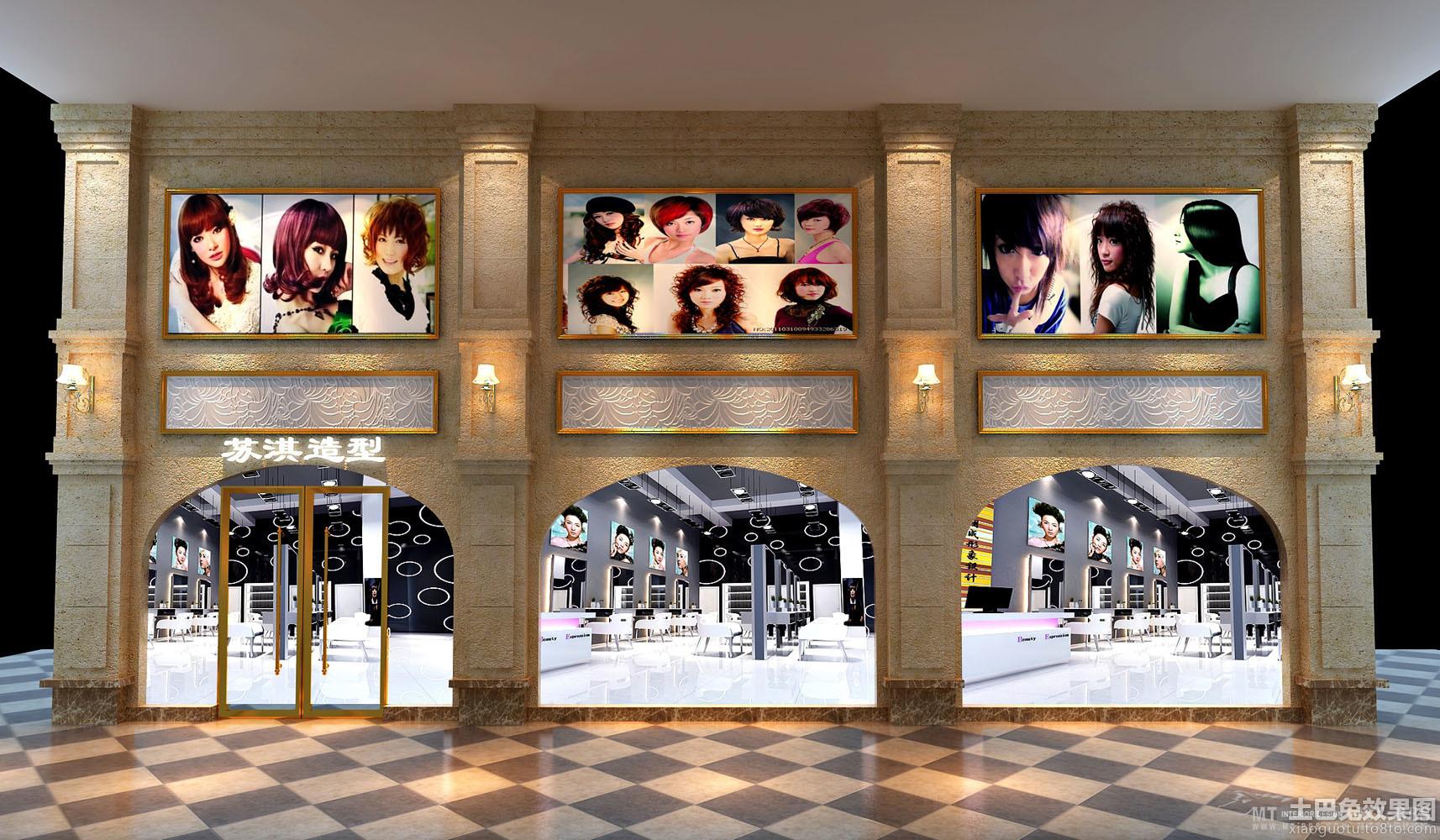 大型理发店门头设计效果图