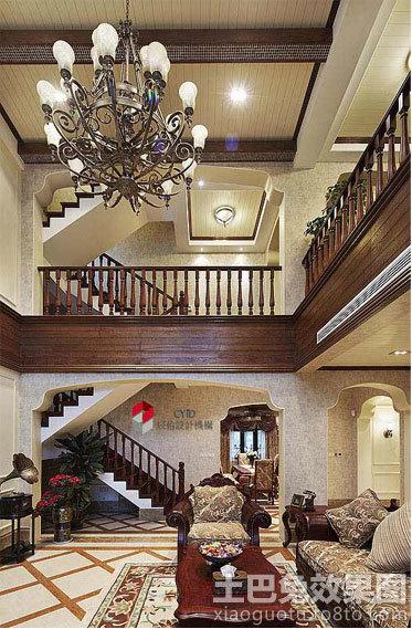 美式挑高客厅吊顶装修效果图图片