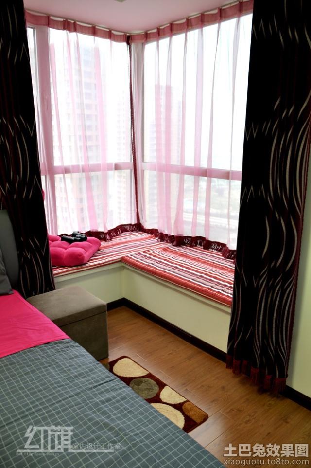 卧室转角飘窗窗帘装修效果图