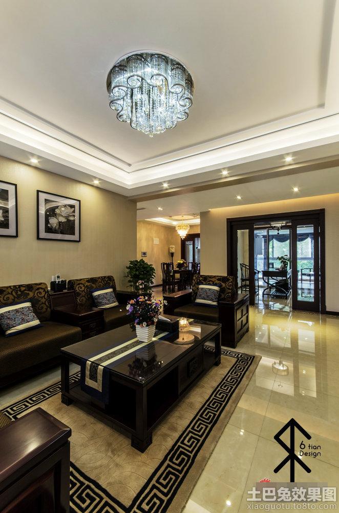 中式客厅水晶灯吊顶装修设计