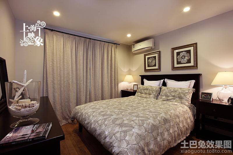 美式风格卧室落地窗帘效果图图片