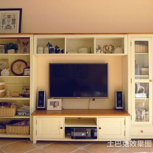 实木电视柜背景墙效果图片