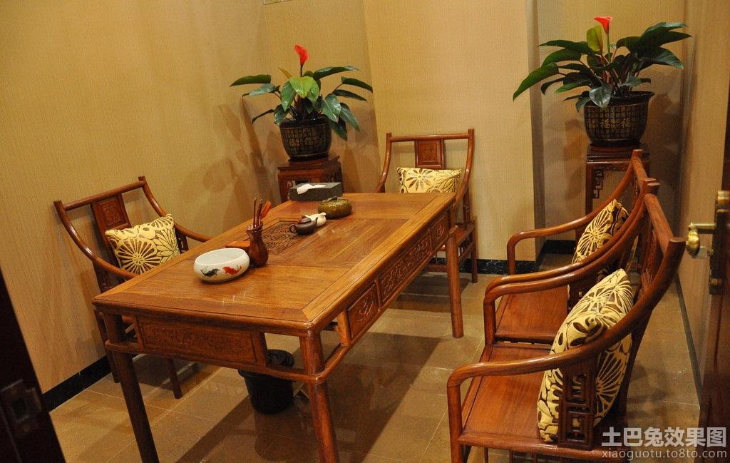 中式茶室实木家具图片