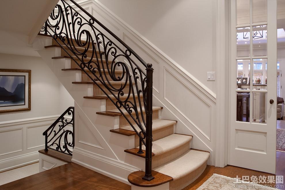 欧式别墅铁艺楼梯扶手效果图图片