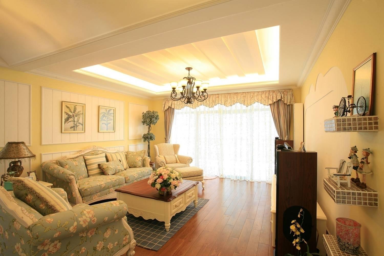 欧式田园风格客厅沙发背景墙装修效果图图片