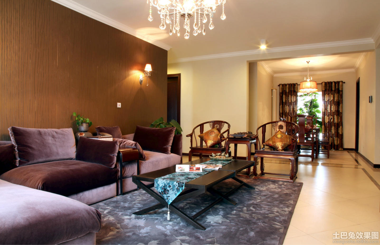 现代中式120平米三室两厅装修效果图图片