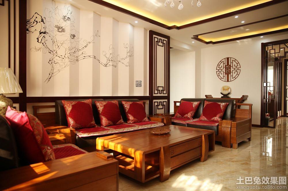 中式客厅沙发背景墙装饰效果图
