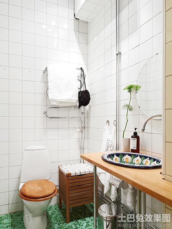 北欧小户型卫生间白瓷砖贴图图片